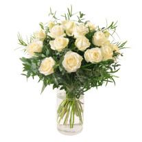 bouquet of 18 white roses long stems with greenery